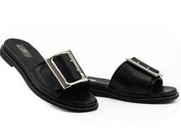 Женские шлепанцы кожаные летние черные Mkrafvt Fashion Ш-28