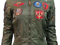 Женский бомбер Miss Top Gun MA-1 jacket with patches (оливковый)