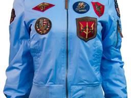 Женский бомбер Miss Top Gun MA-1 jacket with patches (голубой)