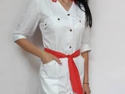 Женский медицинский халат Тиффани рубашечная ткань на кнопка