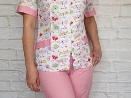 Женский медицинский костюм Бабочка, ткань 100% ХБ