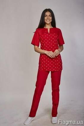 3ac74a8bbd4 Женский медицинский костюм Фиалка красный цена