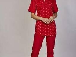 Женский медицинский костюм Фиалка красный