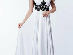 Женское длинное вечернее платье с кружевным корсетом Белое