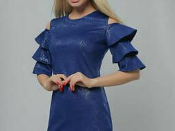 Женское элегантное платье с воланами Lipar Электрик