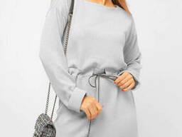 Женское платье с декоративным шнурком Lipar Светло-серое