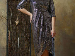 Женское платье с запахом нарядное Lipar Черное Батал