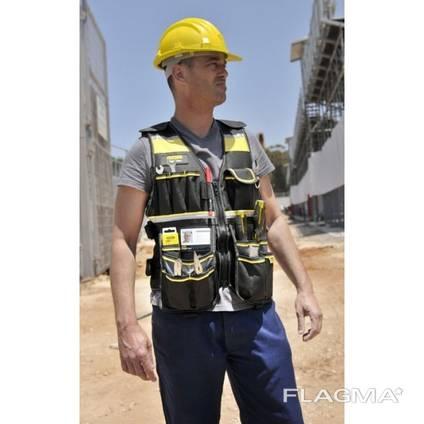 Жилет мужской, чёрный разгрузочный для строителей.