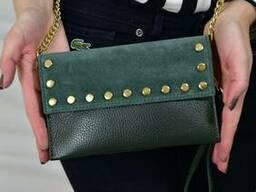 Жіноча замшева сумка-клатч Vera Pelle Mod.0031, Зелений