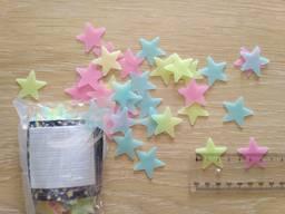 Звёзды фосфорные 100 шт Разноцветные на потолок светятся ноч