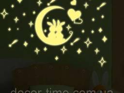 Светящиеся звезды на потолок, стену ( + Луна с зайчиками). ..